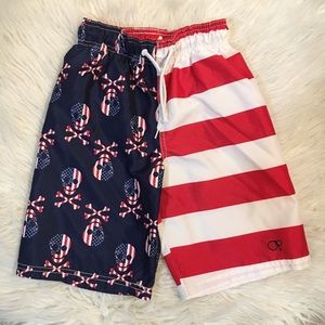 Op Red White & Blue Boys Skull Bones Swim Trunks 8